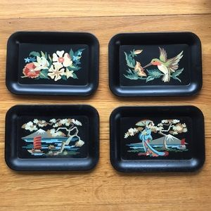 Vintage Metal Decorative Tip Trays Hand Painted